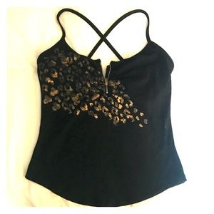 Tops - Black and gold yoga top